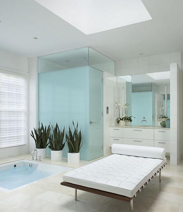 marmor holz glas einrichtungsideen spa entspannung badewanne massagenbett jacuzzi