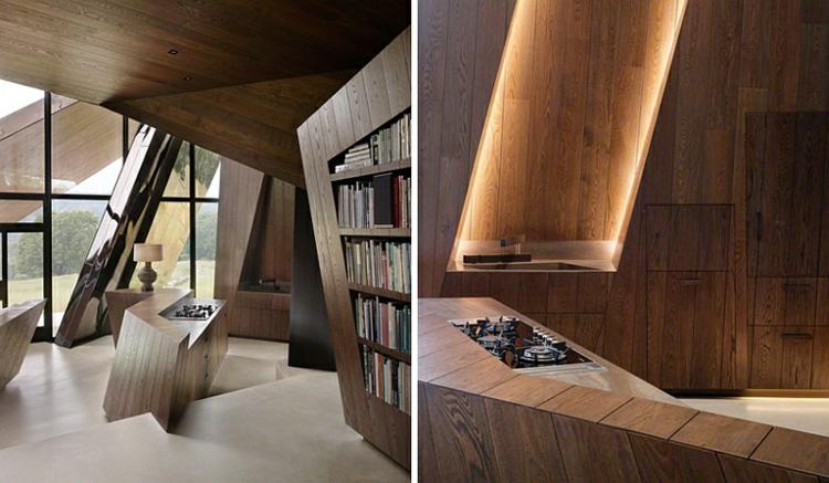 moderne architektur und design holzeinrichtung hausbibliothek wohnzimmer