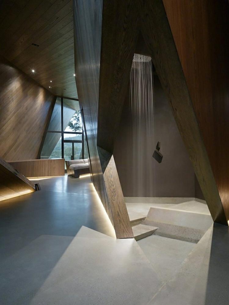 moderne architektur und skulpturelles design holz beton dusche moderne badezimmer