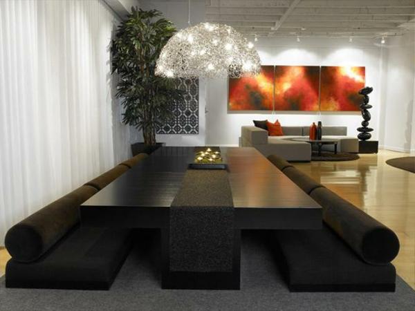moderne esszimmergestaltung interieur schwarz