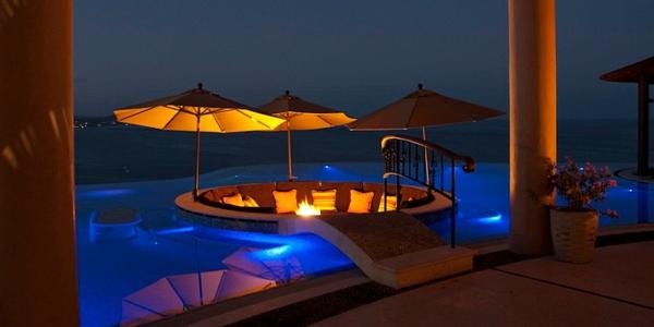 gartengestaltung patio sitzecke garten pool beleuchtung