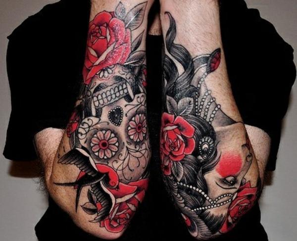 ideen für tattoo unterarm schwarz und rot