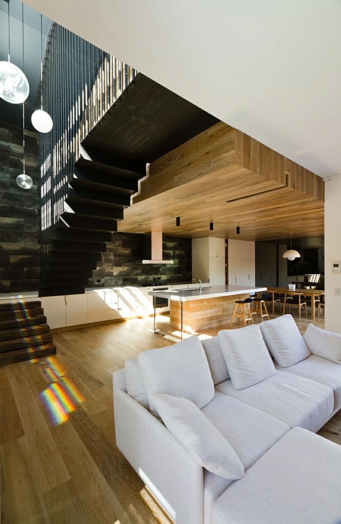 moderne inneneinrichtung aus holz architektenhaus holzboden holzdecke kücheninsel