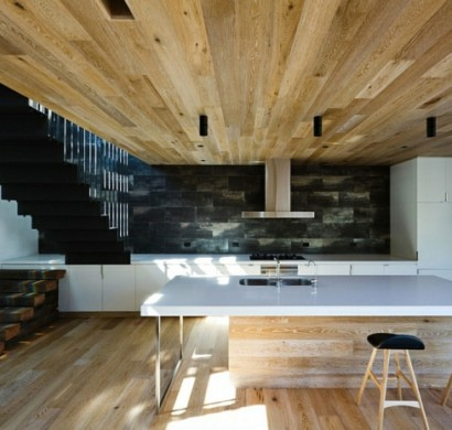 holz boden und decke modern interieur, moderne inneneinrichtung aus holz in einem open house in australien, Design ideen