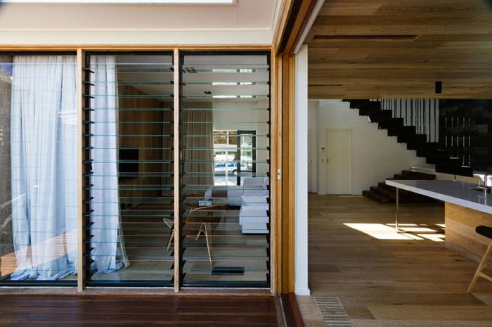 moderne inneneinrichtung holzboden verlegen holzdecke offene wohnräume