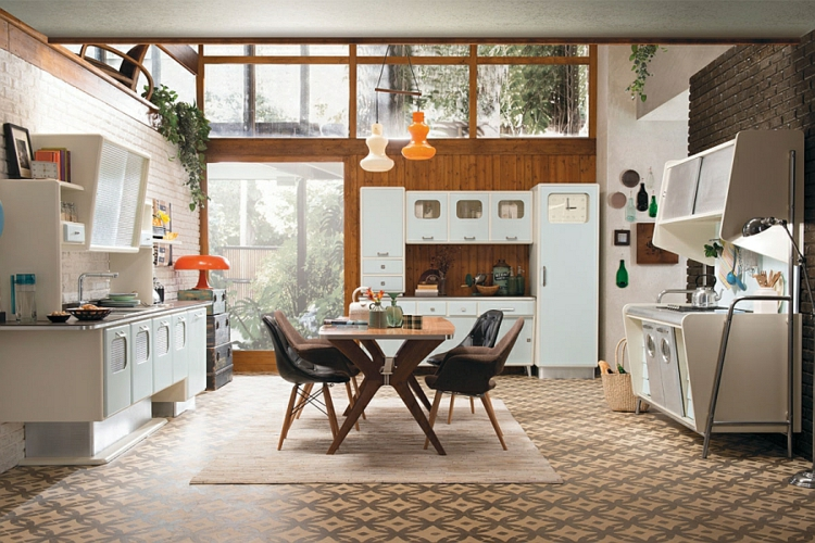 moderne küche gestalten im retro stil vintage design