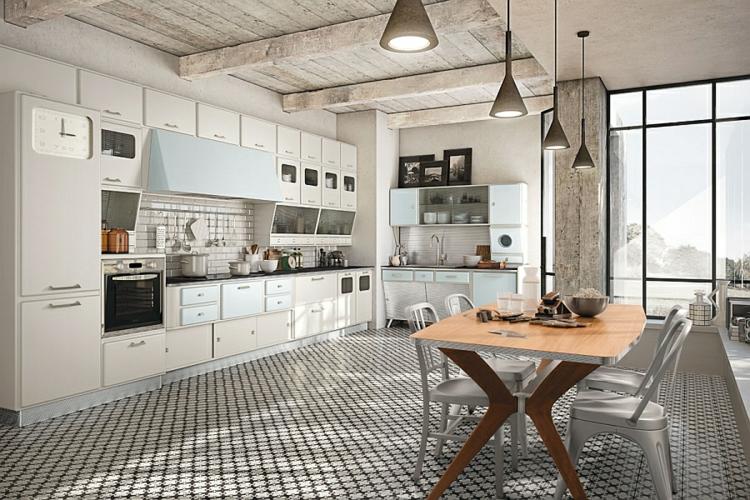 moderne küche gestalten retro stil vintage 50er design
