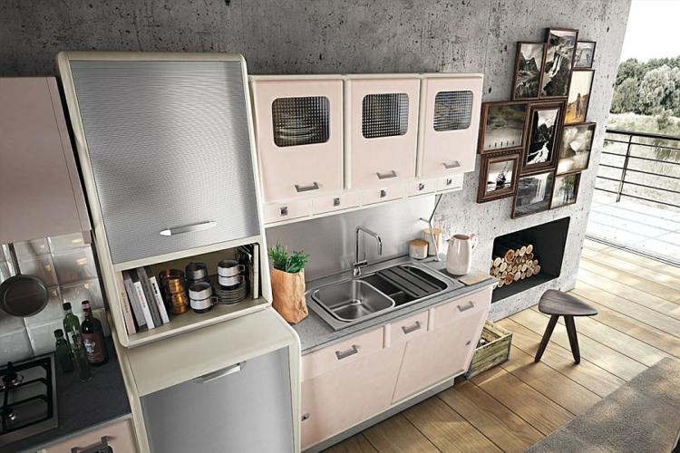 moderne küche gestalten retro stil vintage küchenschränke küchendesign küchenzeile