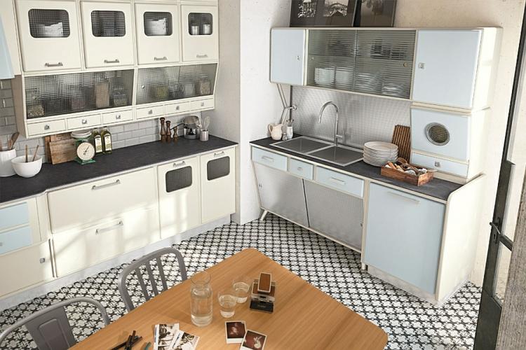 moderne küche gestalten retro stil vintage küchenschränke vintage küchenzeile