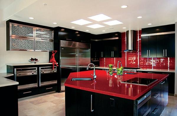 küche in schwarz und rot küchenmöbel