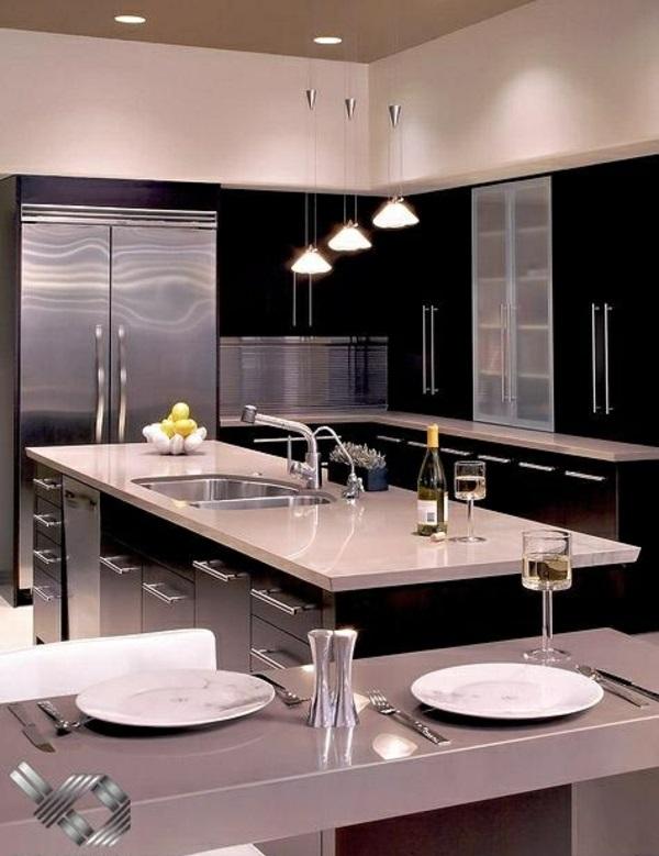 küche küchenblock freistehend kücheninsel bar pendelleuchten