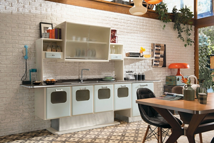 moderne küche retro stil vintage design designer küche