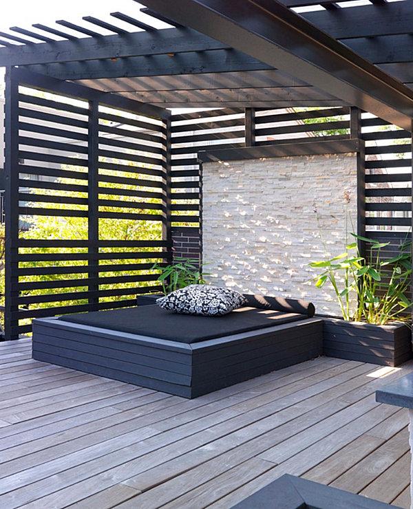 Outdoor bed cabana - Moderne Terrassengestaltung Coole Lounge M 246 Bel Im Au 223 Enbereich
