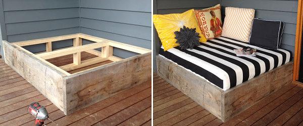 moderne terrassengestaltung terrassendielen außenbett selber bauen holzbalken paletten