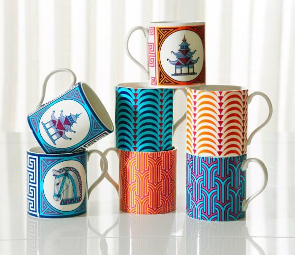 moderne wohnideen küche farbig gemusterte tassen geometrische muster