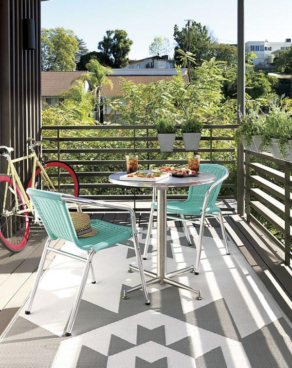 moderne wohnideen terrassengestaltung ideen terrassenmöbel geometrische muster