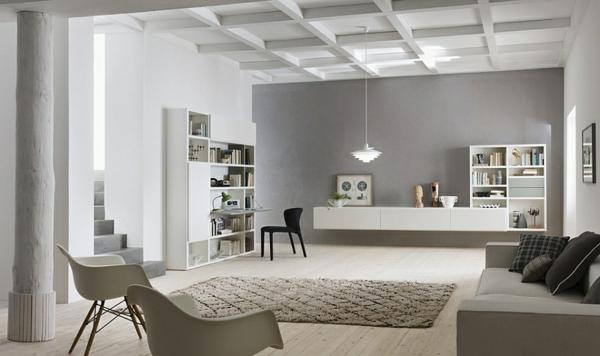 wohnzimmer bücherregale wandregal dekorative decke