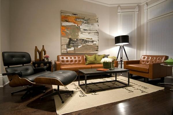 modernes wohnzimmer gestalten designer möbel relax sessel led standleuchten