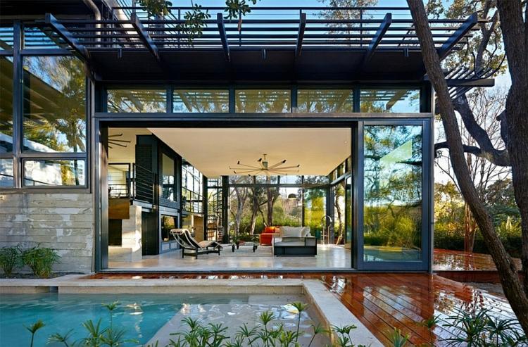 nachhaltige architektur grüne residenz außenbereich gartenpool
