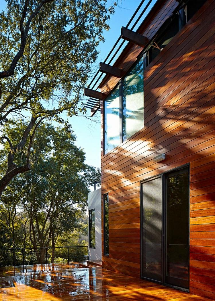 nachhaltige architektur green latern residenz außenbereich hausfassade holz