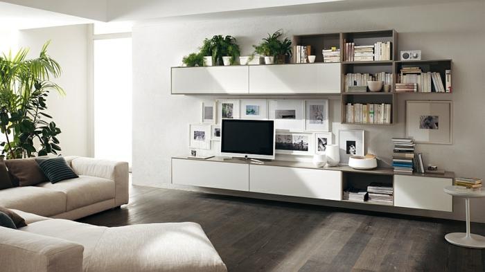 Neutrale Farbgestaltung Wohnzimmer Sofa Einrichtungsideen Minimalistisch Wandregale