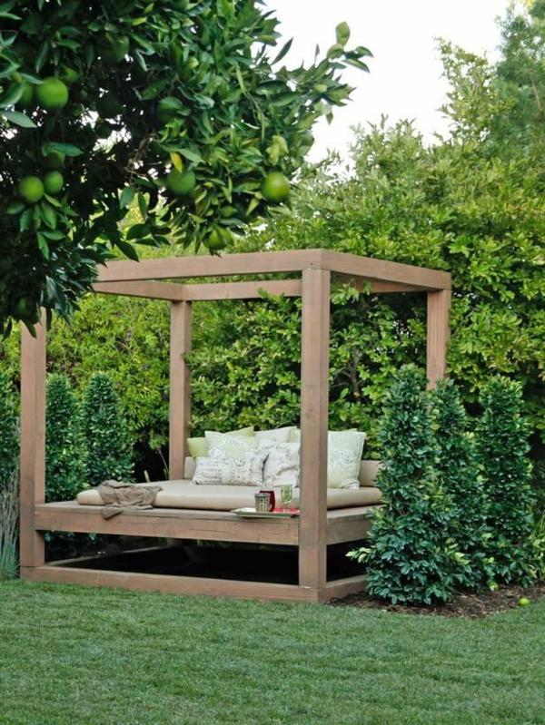 outdoor möbel gestaltung lounge garten bett