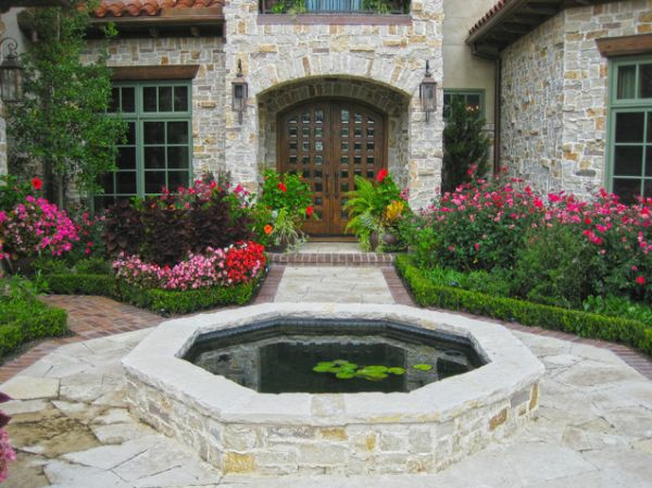 patio ideen vorgarten garten kleiner teich pflanzen