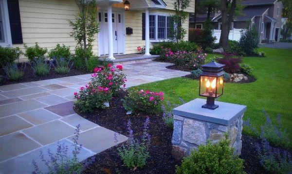 patio ideen vorgarten gestaltung rosen steinplatten - Vorgarten Ideen