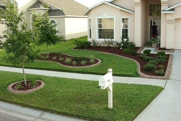 patio ideen vorgarten gestalten schlichte linien rasenflächen
