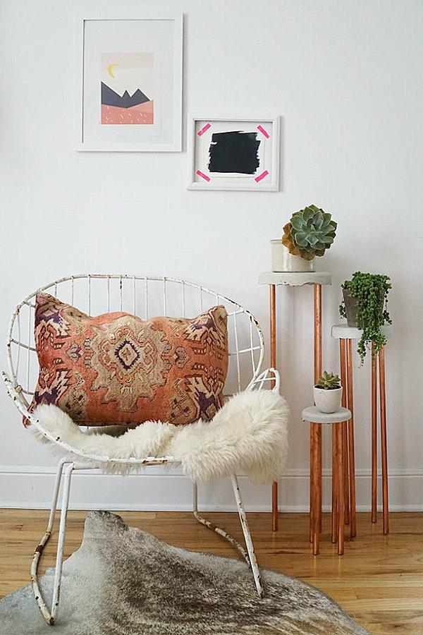 pflegeleichte Schöne Zimmerpflanzen vintage kissen sessel