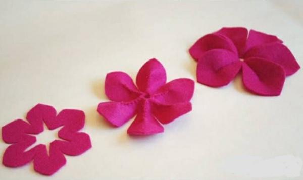 pinke filzblumen selber machen diy deko ideen bastelideen
