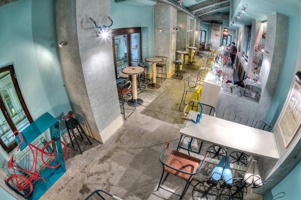 bar restaurant design dekoideen Bicycle bar rumänien blick vom oben