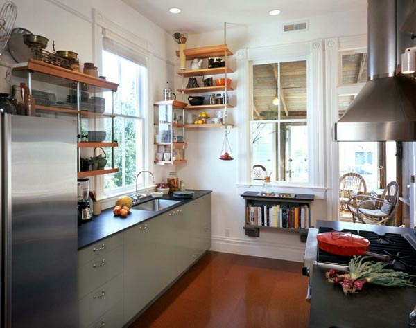 küchenlösungen für kleine küchen offene regale küchenmöbel ...