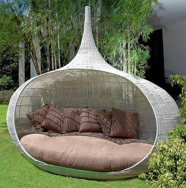 rattanmöbel für outdoor lounge bett