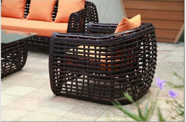 rattanmöbel für outdoor sofa sessel tisch auflage orange