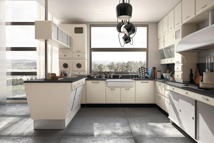 retro küche gestalten vintage 50er design küchenschränke designer pendelleuchten