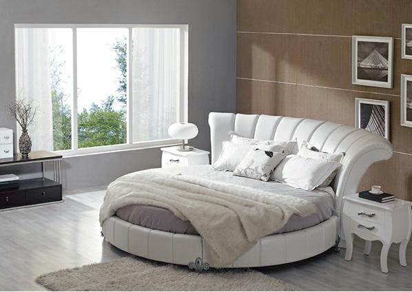 15 runde Betten auf moderner Plattform - Eleganz und Ruhe