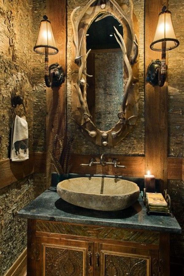 rustikale badezimmergestaltung ideen waschbecken