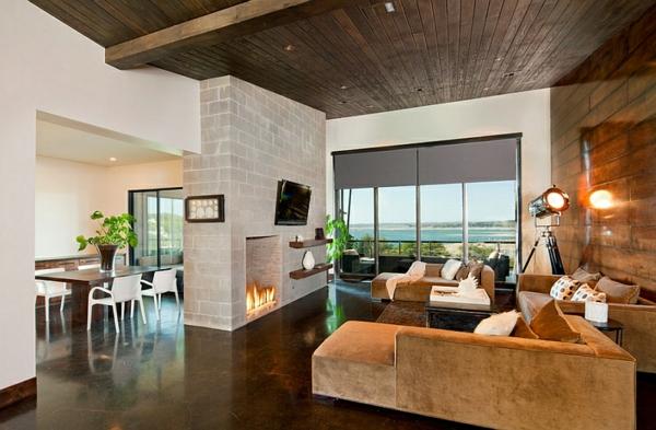rustikales wohnzimmer gestalten beleuchtungsideen standleuchten stativlampe