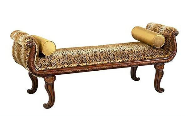 schlafzimmer bank ottomane tiermuster holz gepolstert antukmöbel retro stil