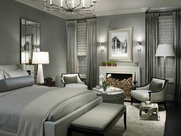 schlafzimmer design luxuriös wandfarbe grautöne bett vorhänge