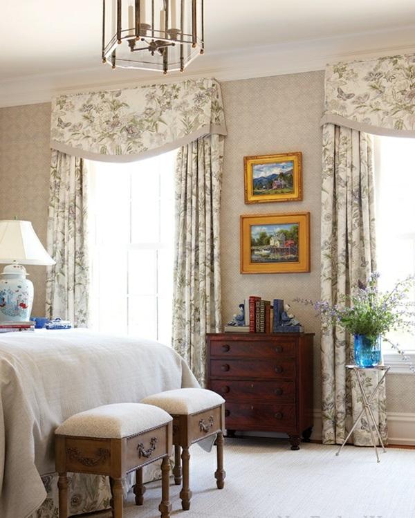 schlafzimmer design schlafzimmergardinen drapierung blumenmuster