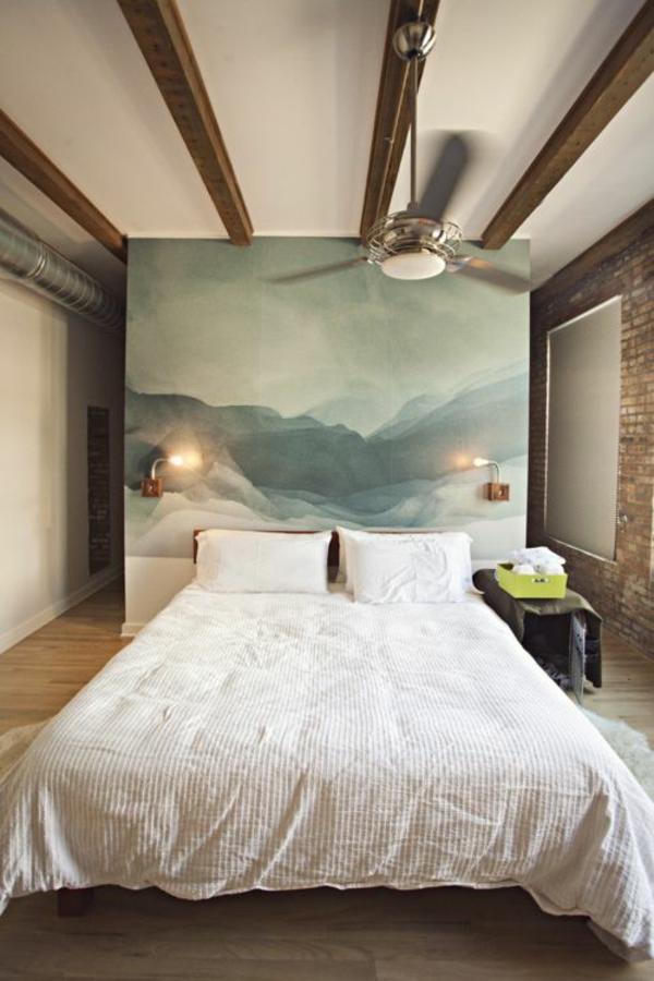 Schlafzimmer Wandgestaltung Bett Kopfteil Malerei 40 Individuelle  Designentscheidungen U2013 Schlafzimmerwand Gestalten ...