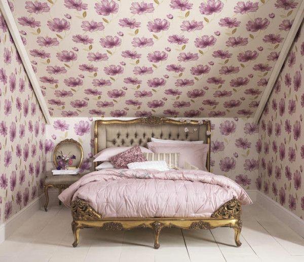 schlafzimmer schlafzimmerwand gestalten decke blumenmuster