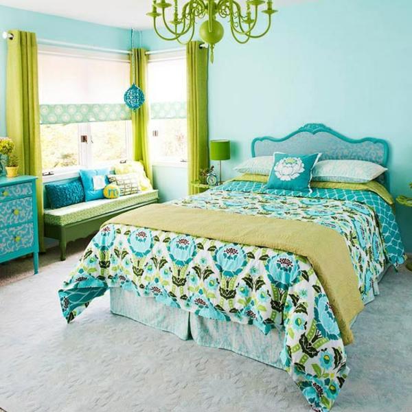 schlafzimmer wandgestaltung frische farben grün