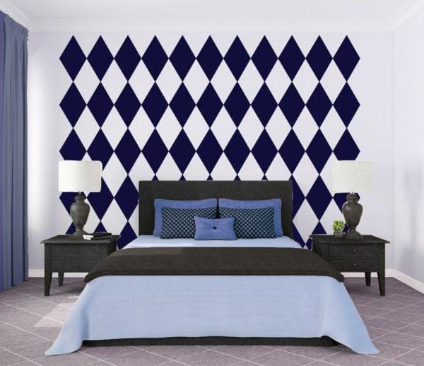 schlafzimmer wandgestaltung geometrische muster