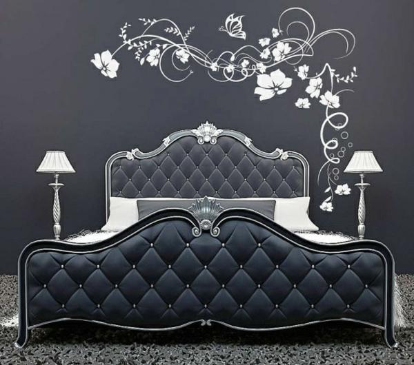schlafzimmer schlafzimmerwand gestalten wandtattoo weiß