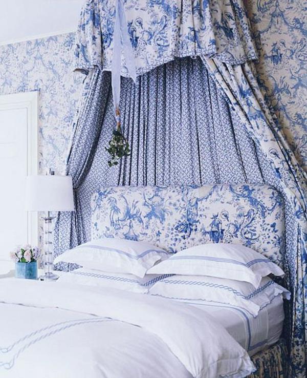 schlafzimmer schlafzimmerwand himmelbett gardinen