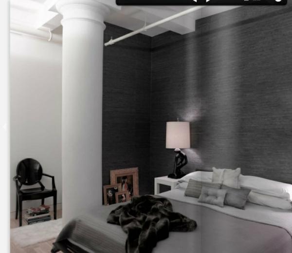 schlafzimmer design wandfarbe grautöne bett