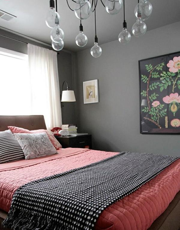 schlafzimmer design wandfarbe grautöne pendelleuchten bett